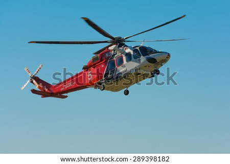 Lakeview Terrace, CA, USA - June 20, 2015: Los Angeles Fire Department helicopter during Los Angeles American Heroes Air Show, event designed to educate the public about rotary-wing aviation.