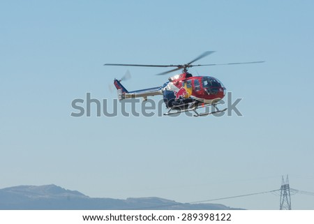 Lakeview Terrace, CA, USA - June 20, 2015: Red Bull helicopter during Los Angeles American Heroes Air Show, event designed to educate the public about rotary-wing aviation.
