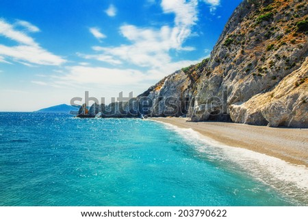 Lalaria Beach, Skiathos Island, Greece - stock photo