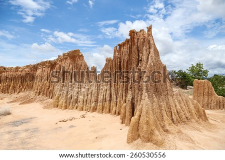 Lalu Park in Sakaeo province, Thailand, due to soil erosion has produced stranges shapes - stock photo
