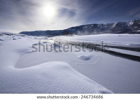 Lamar Valley in winter, Yellowstone National Park - stock photo