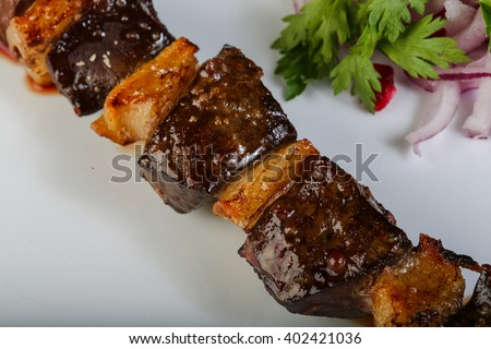 Lamb bbq skewer with white fat