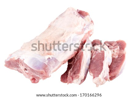 lamb chopped at cutlets isolated - stock photo