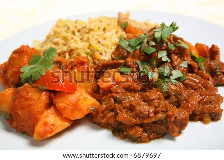 Lamb Curry with mushroom fried rice