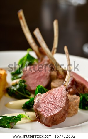 lamb cutlets - stock photo