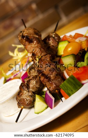 Lamb Kebabs with a side salad