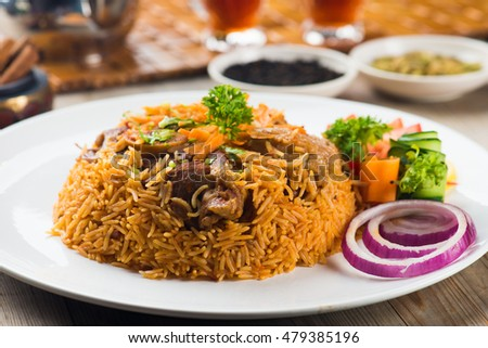 lamb madghout, popular arabic rice with meat during ramadan