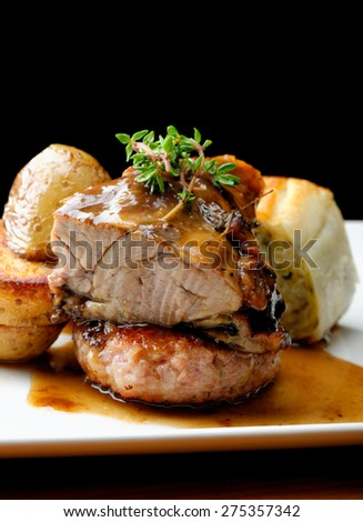 Lamb meat steak with potato and vegetable - stock photo