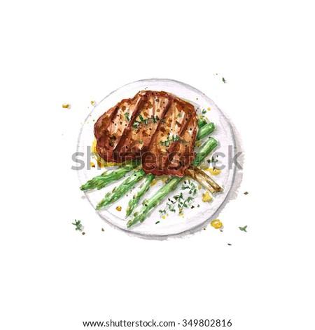 Lamb Rib  - Watercolor Food Collection - stock photo