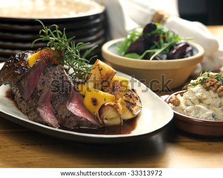 Lamb roast dinner - stock photo