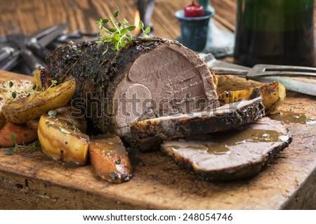 Lamb Roast on Cutting Board - stock photo