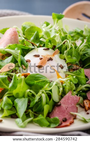 Lamb's lettuce salad with roasted nuts, smoked rump and poached egg, rustic italian bread with olives