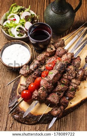 lamb shashlik - stock photo