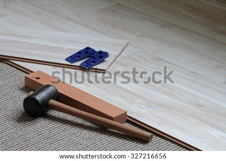 laminate, click system, flooring planks - stock photo
