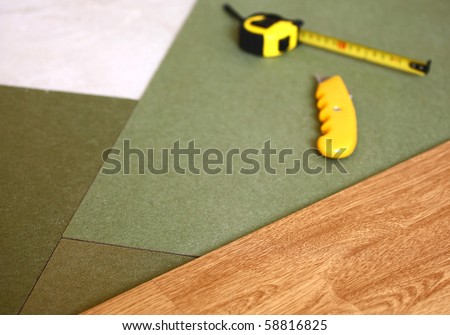 laminate floor with the base layer - stock photo