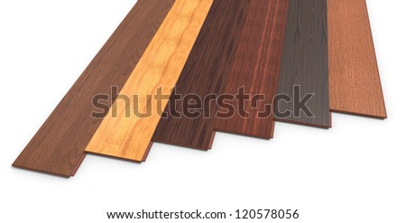 Laminate of different species on a white background - stock photo
