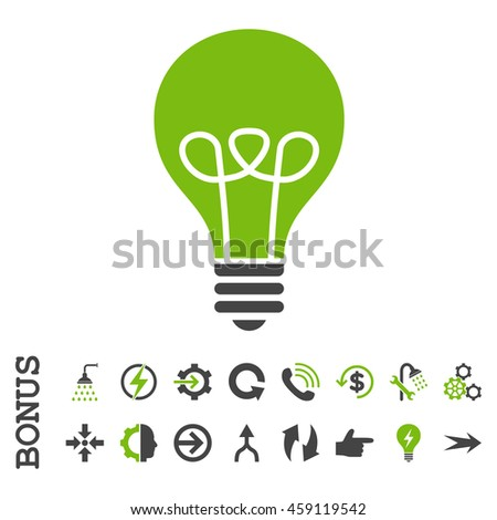 Lamp Bulb glyph bicolor icon. Image style is a flat pictogram symbol, eco green and gray colors, white background. - stock photo