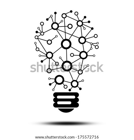 Lamp consisting of links. The concept of communication - stock photo