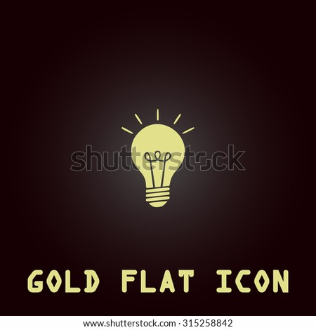 Lamp. Gold flat icon. Symbol for web and mobile applications for use as logo, pictogram, infographic element