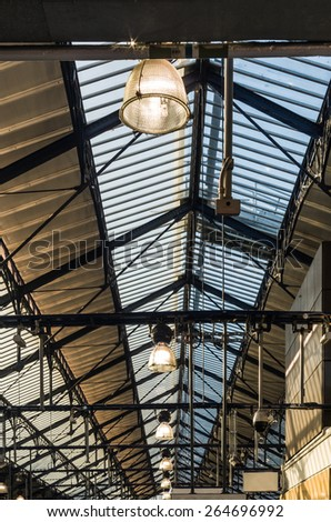 lamp hanging under the ceiling station concourse - stock photo