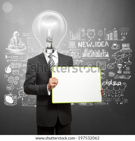 Lamp Head business man holding empty write board in his hands