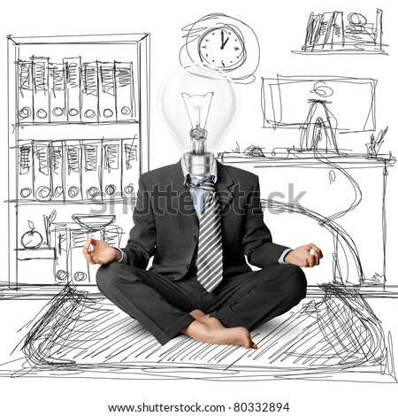 lamp-head businessman in lotus pose meditating at the office - stock photo
