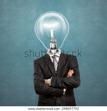 lamp head businessman in suit with crossed hands - stock photo