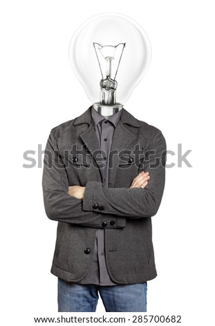 lamp head man in suit, looking on camera, with folded hands - stock photo