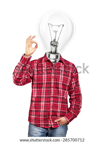 lamp head man, looking on camera, showing OK - stock photo