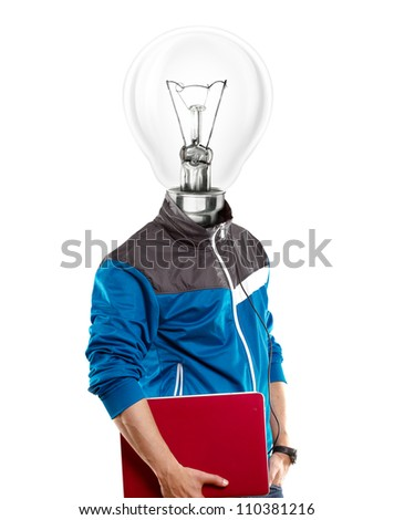 Lamp Head man with laptop, listening to the music - stock photo