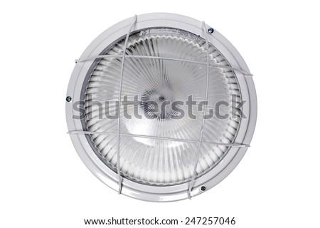 Lamp, lamp vandal-proof, outdoor, LED, light, bright, light, energy saving panel, lights, reflectors, sun protection glass. - stock photo