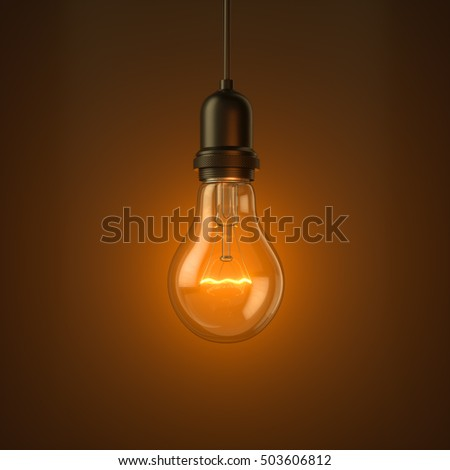 Lamp light bulb Illuminated on studio background. 3D illustration