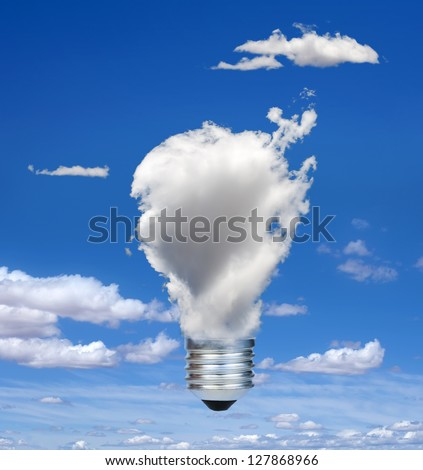 Lamp made of clouds. Ecology conception. Blue sky. - stock photo