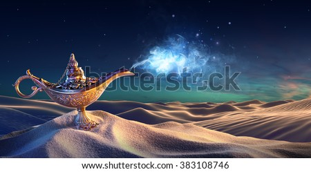 Lamp of Wishes In The Desert - Genie Coming Out Of The Bottle  - stock photo