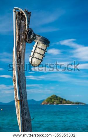Lamp on beautiful tropical island beach - Koh Mak, Trat Thailand - Selective focus - stock photo