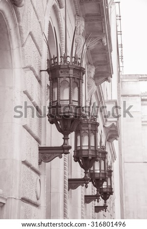 Lamp on Facade of Building, Liverpool, England, UK