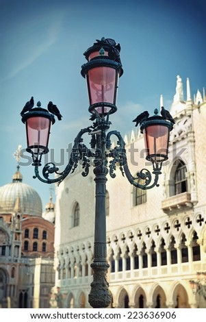 Lamp on St. Mark's Square, Venice, Italy - stock photo