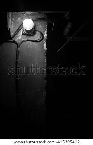 lamp on wall - stock photo