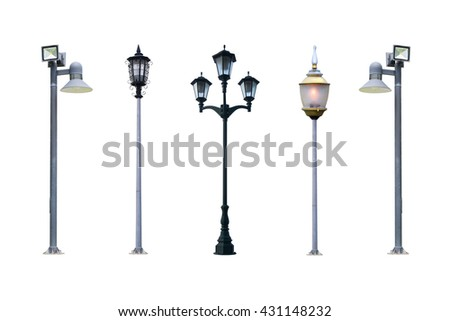 lamp post collection. Aet of Old Vintage street lampost set. streetlight collection. isolated on white background. - stock photo