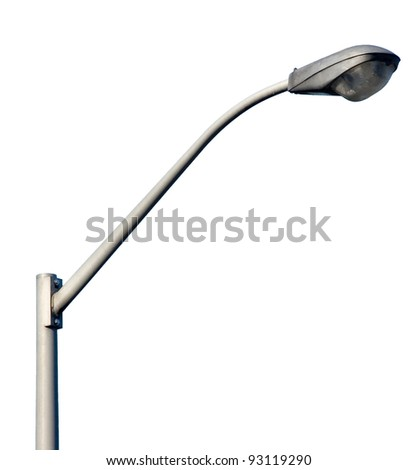 lamp post ; isolated object on white background ; electricity industry - stock photo