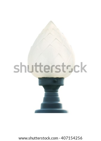 Lamp post isolated white background - stock photo