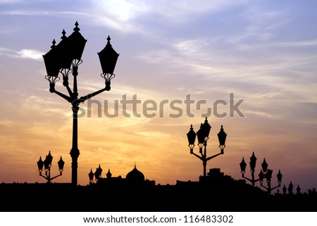 Lamp posts at sunset