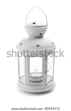 Lamp with candle - stock photo