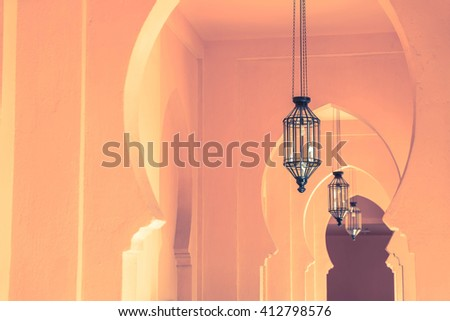 Lamp with Morocco architecture style - stock photo
