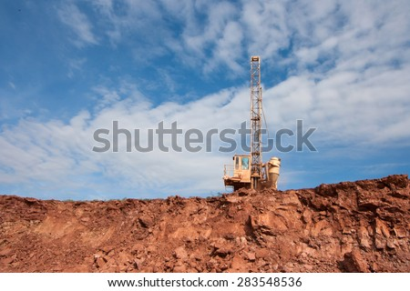 LAMPANG, THAILAND - DEC 29: Drilling holes machine in a coal mine, December, 29, 2014 in Lampang, Thailand - stock photo