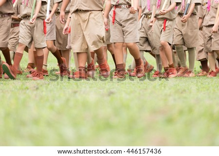 Lampang Thailand July 1, 2016: Boy scouts participates in the parade on celebrating of the King Rama 6 Who creat scout Team in July 1,2016 at Nakwang school Lampang Thailand - stock photo