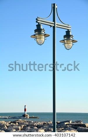 Lamppost along Lake Michigan shore in Kenosha - stock photo