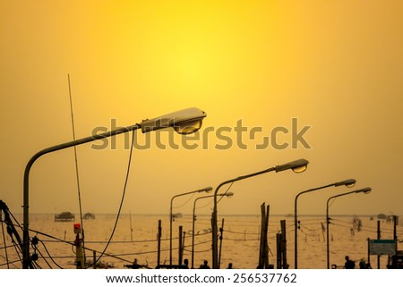 Lamppost at Sunset - stock photo