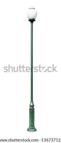 lamppost. Electric street light. Isolated on white background. green lamp post with a round lamp, made in ancient style - stock photo