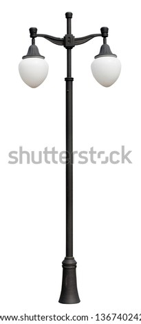 lamppost. Electric street light. Isolated on white background. Street lighting black lamp post, with two lamps - stock photo